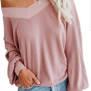Tops - Pink off the shoulder